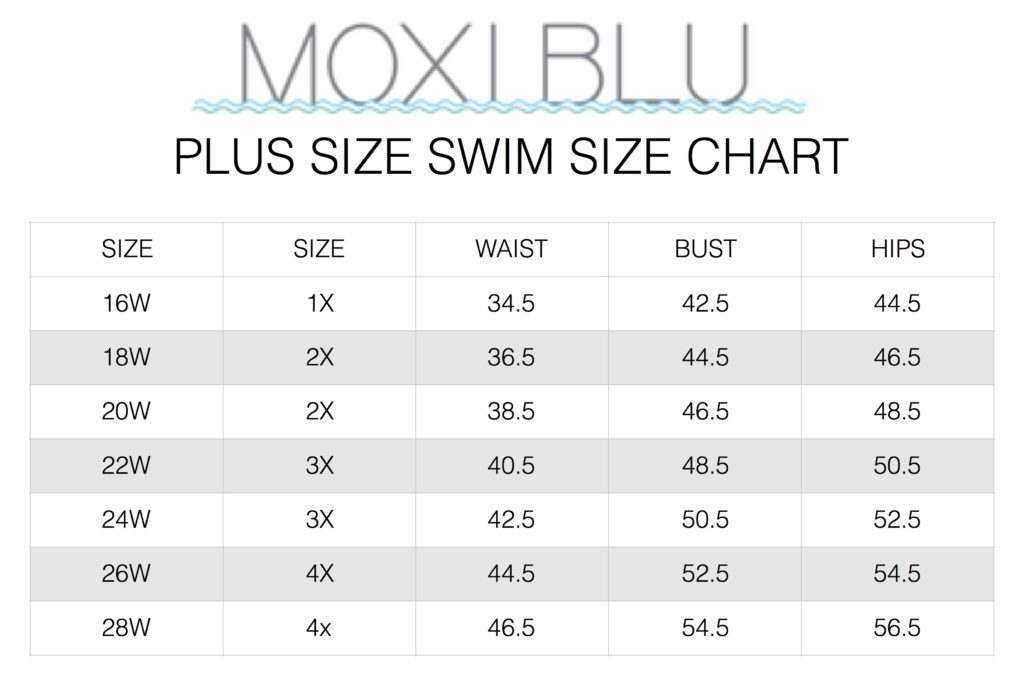 Plus Size Swim Size Chart