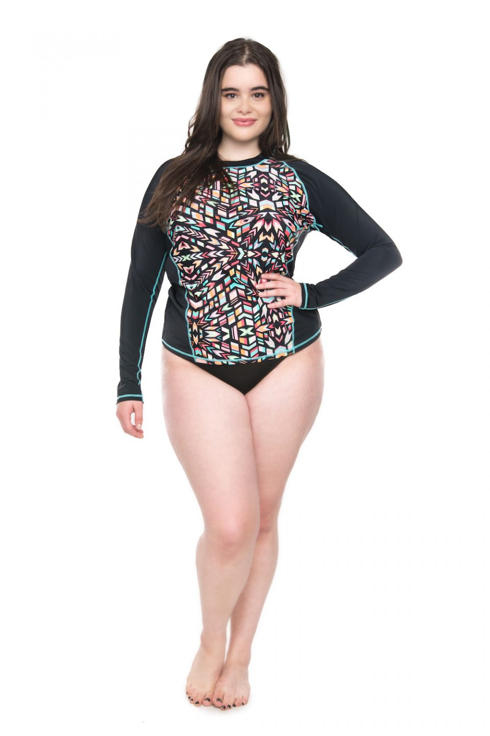 Printed Rashguard Swim Cover-Up